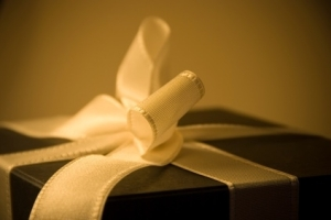 present wrapped in black