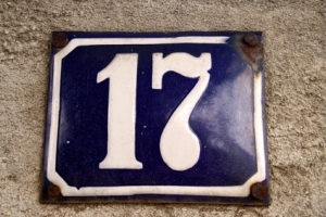 address plate with 17