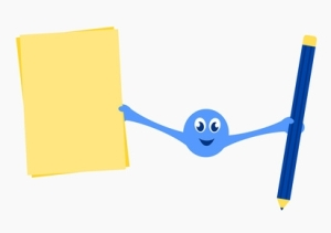blue smiley holding paper and pen