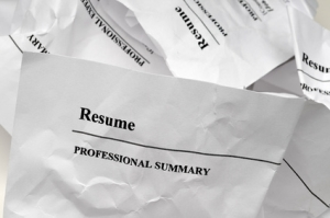resumes crumpled up
