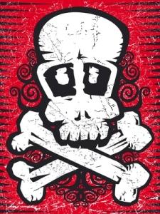 skull against red background