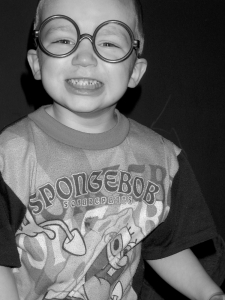 child in silly glasses
