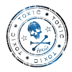 Toxic label with skull and crossbones