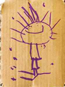 Kid art in purple marker