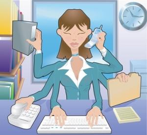 professional woman multitasking