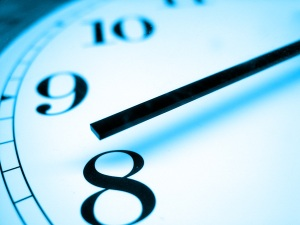 blurred clock face close up