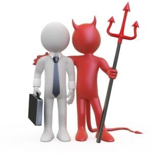 businessman and devil figures