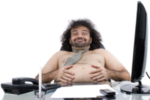 fat shirtless man in office
