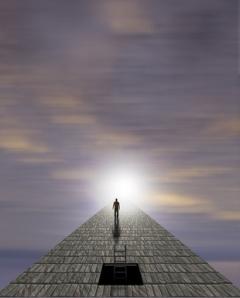 Man walking on bridge toward light