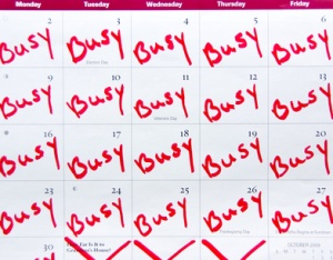 "month calendar marked with ""busy"" every week day"