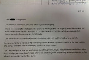 resignation letter from Burger King employee
