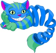 Disappearing Cheshire Cat levitating in the air