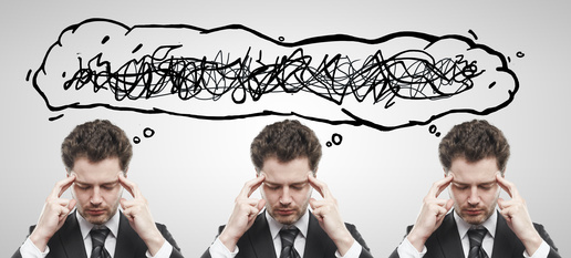 Three businessmen with confusing tangle of thoughts