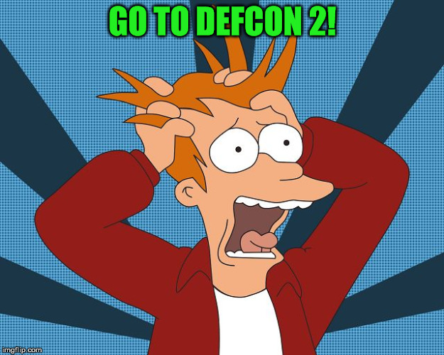 Fry character from Futurama with hands in hair, panic expression on face, saying Go to Defcon 2!
